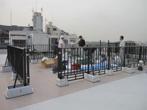 屋上工事も柵の設置